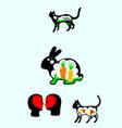 Rabbit n cat silhouette vector