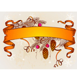 Vintage christmas banner and branch of christmas t vector