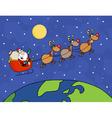 Santa waving and flying over earth vector