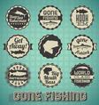 Vintage gone fishing labels vector