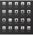 Clock web icons set with reflection vector