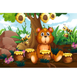 A cute bear under the tree with bees and pots of vector