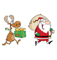 Happy santa claus and reindeer runs with gifts vector