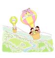 Travel sky happy family vector