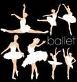 Ballet silhouettes set vector