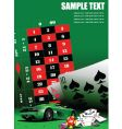 Casino elements with sport car vector