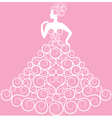 Bride in curly dress vector