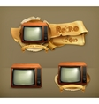 Tv set retro icon vector