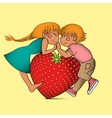 Cartoon boy and girl with strawberry heart vector