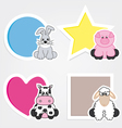 Set of animal stickers vector