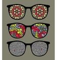 Retro sunglasses with pattern reflection vector