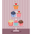 Cupcakes on a stand vector