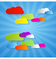 Colorful cut paper clouds on blue background vector