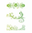 Set of green floral vector