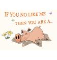 Pig and a pool postcard cartoon vector