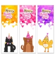 Happy birthday banners with cat dog bird vector