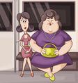 Two women in the metro vector