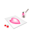 Paint roller screen printing heart on a tiles vector