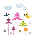 Paper trees birds and clouds vector