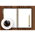 Blank notebook with coffee cup vector