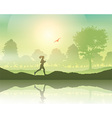 Female jogging in the countryside vector