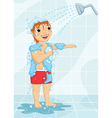 Young boy having shower vector