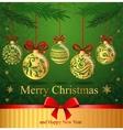 Greeting card with christmas balls vector