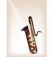 A musical bass saxophone on brown stage background vector