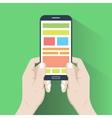 Smartphone in hands flat design vector