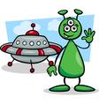 Alien with ufo cartoon vector