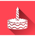 Birthday cake icon long shadows vector