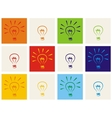 Light bulb icon set - hand drawn colorful sign vector