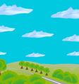 Landscape with road through field and forest vector