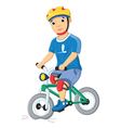 Boy and destroyed bicycle vector
