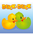 Yellow and green ducks vector