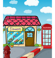 A flower shop a fire hydrant and a telephone vector