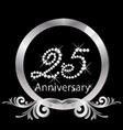 25th anniversary silver diamond vector