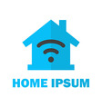 Home with wireless network logo design vector
