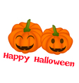 Two jack-o-lantern pumpkins in happy halloween vector