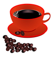 Red cup of coffee with beans on white background vector