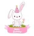 Happy birthday card with a bunny vector