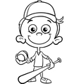 Boy baseball player coloring page vector