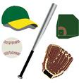 Baseball field ball glove hat and bat vector