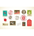 Christmas set of vintage postage stamps vector