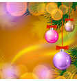Christmas background with balls and lights vector