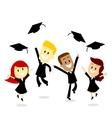 Throwing cap in graduation day vector