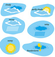 Icon set for weather forecast dotted sun clouds vector