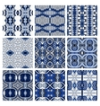 Set of blue different seamless colored vintage vector