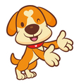 Holding paw to guide dog mascot vector
