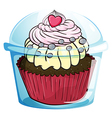 A cupcake inside the disposable cup with a cover vector